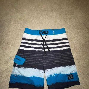 Maui & sons Blue Black Striped Board Shorts 32